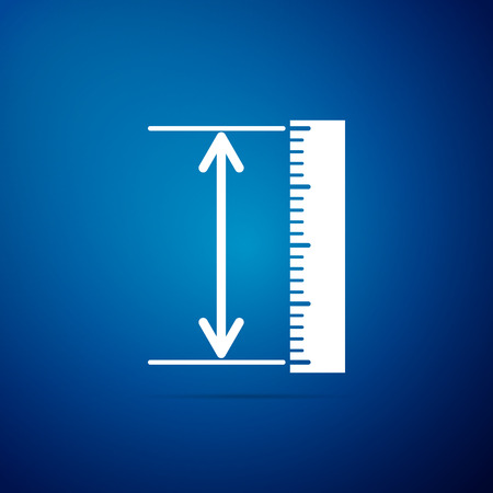 The measuring height and length icon isolated on blue background. Ruler, straightedge, scale symbol. Geometrical instruments. Flat design. Vector Illustration