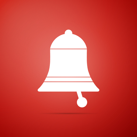 Ringing bell icon isolated on red background. Alarm symbol, service bell, handbell sign, notification symbol. Flat design. Vector Illustration Ilustração