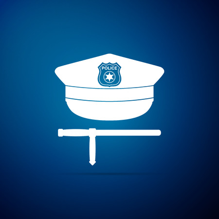 Police cap and rubber baton icon isolated on blue background. Security truncheons. Police stick. Policeman uniform. Flat design. Vector Illustration