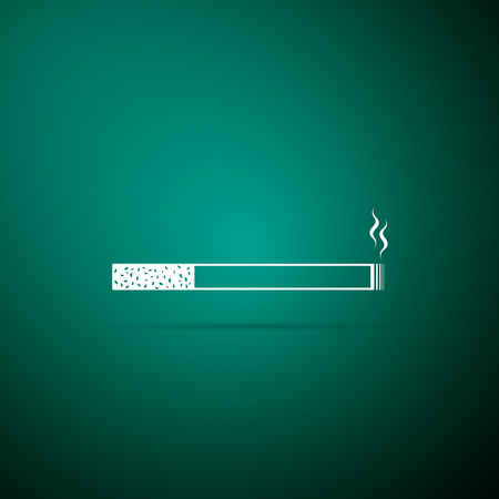 Cigarette icon isolated on green background. Tobacco sign. Smoking symbol. Flat design. Vector Illustration