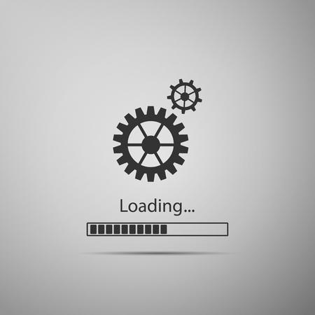 Lade- und Zahnradsymbol lokalisiert auf grauem Hintergrund. Fortschrittsbalkensymbol. Aktualisierung der Systemsoftware. Prozesssymbol wird geladen. Flaches Design. Vektor-Illustration