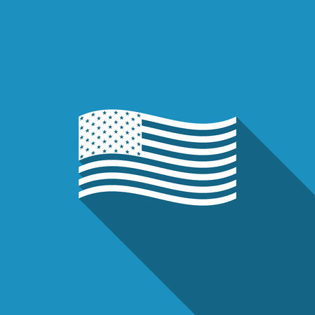 American flag icon isolated with long shadow. Flag of USA. Flat design. Vector Illustration 일러스트