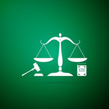 Scales of justice, gavel and book icon isolated on green background. Symbol of law and justice. Concept law. Legal law and auction symbol. Flat design. Vector Illustration