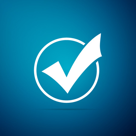 Check mark in round icon isolated on blue background. Check list button sign. Flat design. Vector Illustration 版權商用圖片 - 112061152