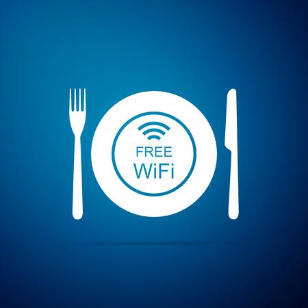 Restaurante Icono de zona Wi-Fi gratuito aislado sobre fondo azul. Signo de plato, tenedor y cuchillo. Diseño plano. Ilustración vectorial Ilustración de vector