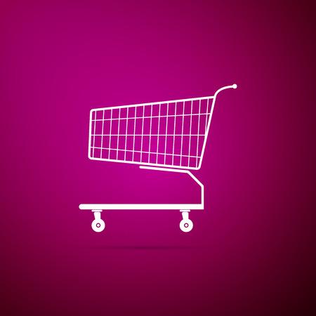 Icône de panier d'achat isolé sur fond violet. Design plat. Illustration vectorielle