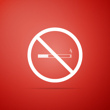 No Smoking sign isolated on red background. Cigarette symbol. Flat design. Vector Illustration Illustration