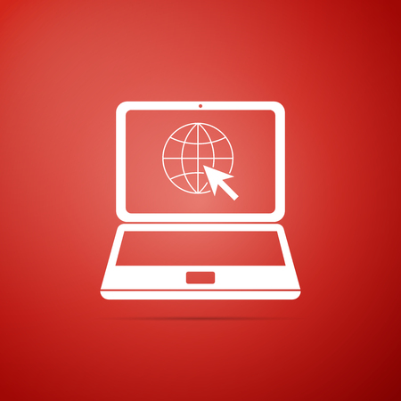 Website on laptop screen icon isolated on red background. Laptop with globe and cursor. World wide web symbol. Flat design. Vector Illustration Illustration