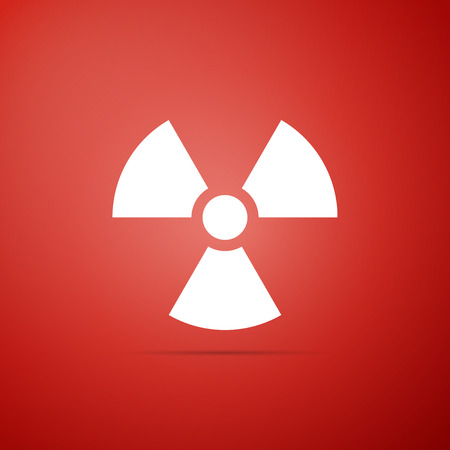 Radioactive icon isolated on red background. Radioactive toxic symbol. Radiation Hazard sign. Flat design. Vector Illustration