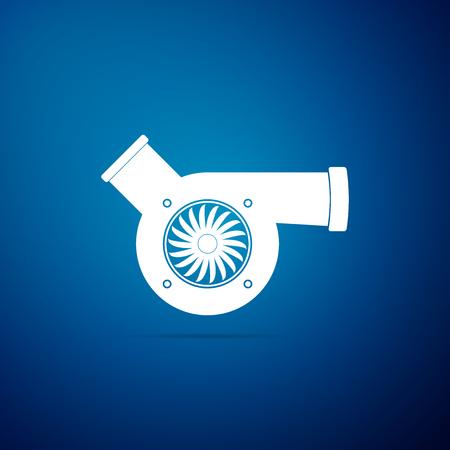 Automotive turbocharger icon isolated on blue background. Vehicle performance turbo icon. Car turbocharger sign. Turbo compressor induction symbol. Flat design. Vector Illustration Illustration