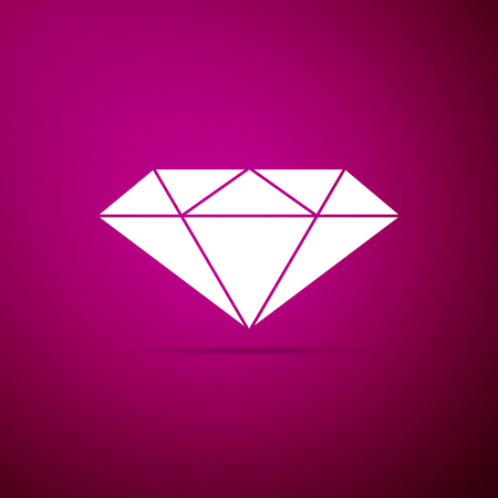 Diamond sign isolated on purple background. Jewelry symbol. Gem stone. Flat design. Vector Illustration Stock fotó - 112061174