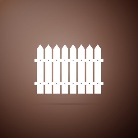 Fence icon isolated on brown background. Flat design. Vector Illustration