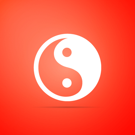 Yin Yang symbol of harmony and balance icon isolated on red background. Flat design. Vector Illustration