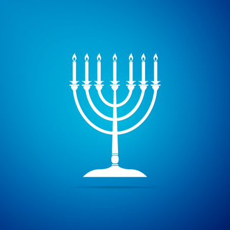 Hanukkah menorah icon isolated on blue background. Religion icon. Hanukkah traditional symbol. Holiday religion, jewish festival of Lights. Flat design. Vector Illustration
