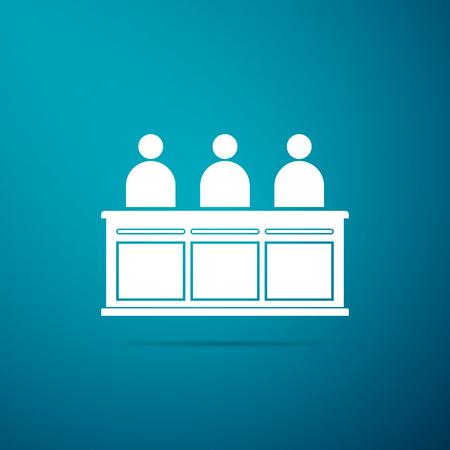 Jurors icon isolated on blue background. Flat design. Vector Illustration Vektoros illusztráció