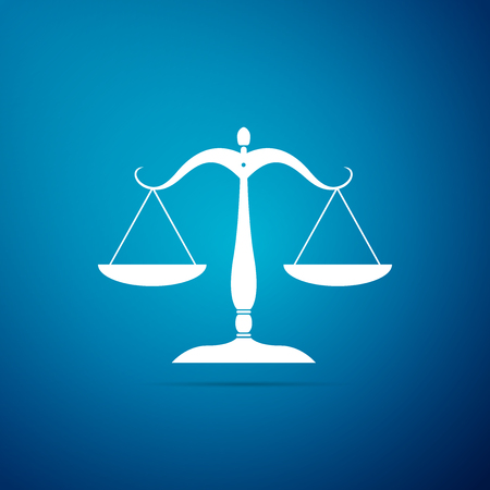 Scales of justice icon isolated on blue background. Court of law symbol. Balance scale sign. Flat design. Vector Illustration