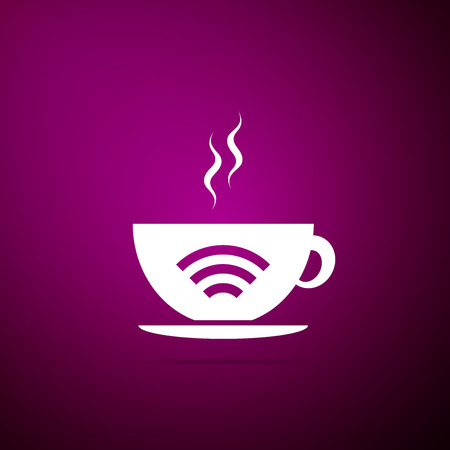 Cup of coffee shop with free wifi zone icon isolated on purple background. Internet connection placard. Flat design. Vector Illustration Vectores