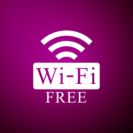 Free Wireless sign isolated on purple background. Wireless symbol. Wireless Network icon. Vectores