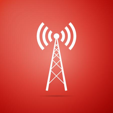Antenna icon isolated on red background. Radio antenna wireless. Technology and network signal radio antenna. Flat design. Vector Illustration
