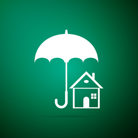 House with umbrella icon isolated on green background. Real estate insurance symbol. Real estate symbol. Flat design. Vector Illustration