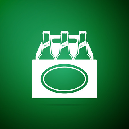 Pack of beer bottles icon isolated on green background. Case crate beer box sign. Flat design. Vector Illustration