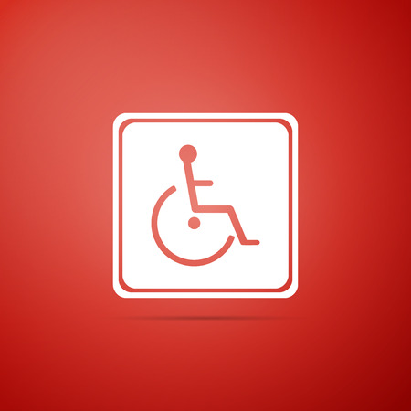 Disabled handicap icon isolated on red background. Wheelchair handicap sign. Flat design. Vector Illustration