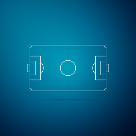 Football field or soccer field icon isolated on blue background. Flat design. Vector Illustration