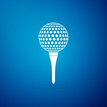 Golf ball on tee icon isolated on blue background. Flat design. Vector Illustration
