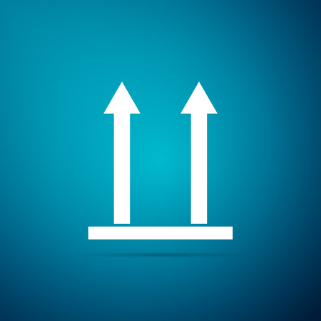 This side up icon isolated on blue background. Two arrows indicating top side of packaging. Cargo handled so these arrows always point up. Flat design. Vector Illustration