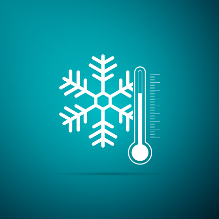 Thermometer with snowflake icon isolated on blue background. Flat design. Vector Illustration  イラスト・ベクター素材