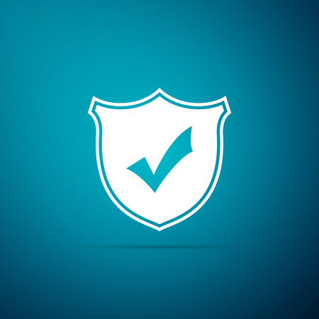 Shield with check mark icon isolated on blue background. Flat design. Vector Illustration Stock Illustratie