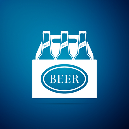 Pack of beer bottles icon isolated on blue background. Case crate beer box sign. Flat design. Vector Illustration