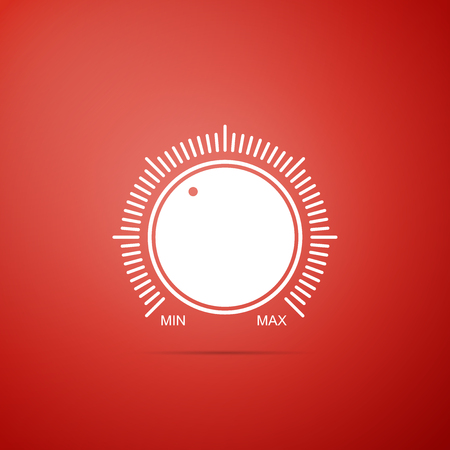 Dial knob level technology settings icon isolated on red background. Volume button, sound control, music knob with number scale, analog regulator. Flat design. Vector Illustration Vector Illustratie