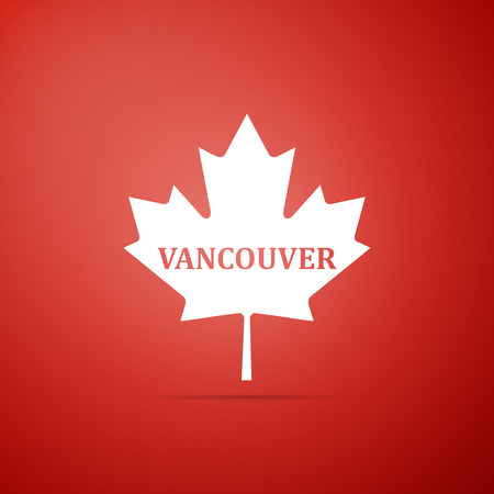 Canadian maple leaf with city name Vancouver icon isolated on red background. Flat design. Vector Illustration