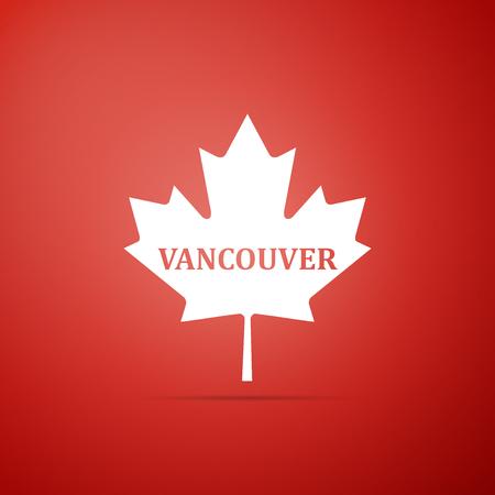 赤い背景に隔離された都市名バンクーバーのアイコンを持つカナダのメープルリーフ。フラットなデザイン。ベクトルの図