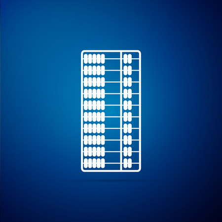 Abacus icon isolated on blue background. Traditional counting frame. Education sign. Mathematics school. Flat design. Vector Illustration Illustration