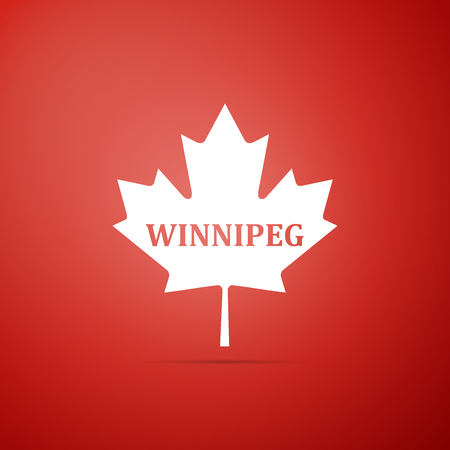 Canadian maple leaf with city name Winnipeg icon isolated on red background. Flat design. Vector Illustration