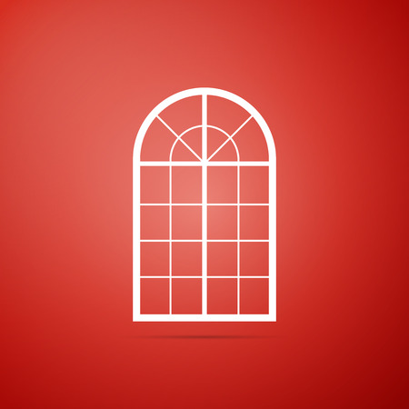 Arched window icon isolated on red background. Flat design. Vector Illustration