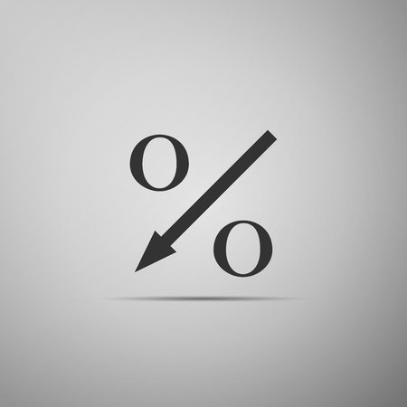 Percent down arrow icon isolated on grey background. Decreasing percentage sign. Flat design. Vector Illustration