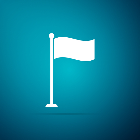 Flag icon isolated on blue background. Location marker symbol. Flat design. Vector Illustration