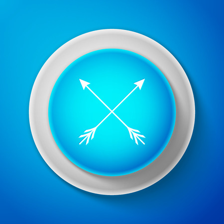 White Crossed arrows icon isolated on blue background. Circle blue button with white line. Vector Illustration