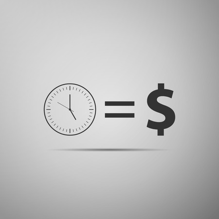 Time is money sign icon isolated on grey background. Money is time. Effective time management. Convert time to money. Flat design. Vector Illustration