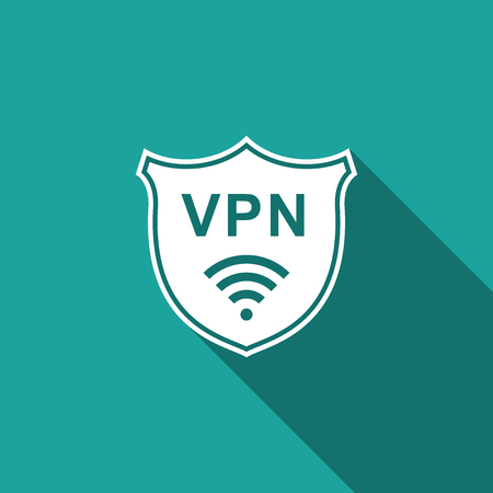 Shield with VPN and WiFi wireless internet network symbol icon isolated with long shadow. VPN protect safety concept. Virtual private network for security. Flat design. Vector Illustration