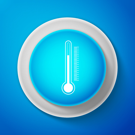 White Thermometer icon isolated on blue background. Circle blue button with white line. Vector Illustration