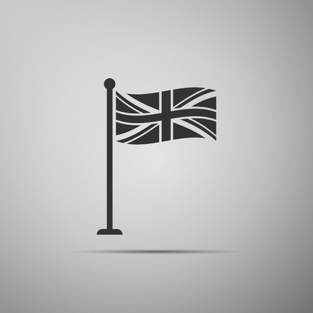 Flag of Great Britain on flagpole icon isolated on grey background. UK flag sign. Official United Kingdom flag sign. British symbol. Flat design. Vector Illustration