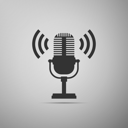 Microphone icon isolated on grey background. On air radio mic microphone. Speaker sign. Flat design. Vector Illustration