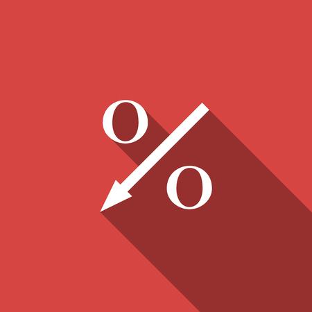 Porcentaje de icono de flecha hacia abajo aislado con sombra. Signo de porcentaje decreciente. Diseño plano. Ilustración vectorial Ilustración de vector