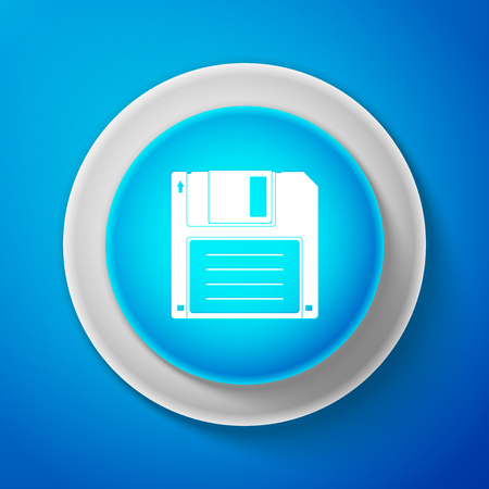 White Floppy disk for computer data storage icon isolated on blue background. Diskette sign. Circle blue button with white line. Vector Illustration