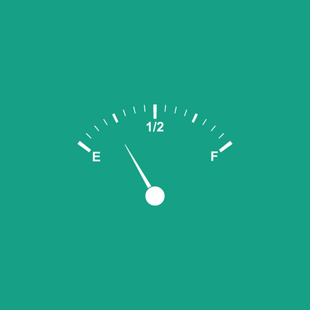 Motor gas gauge icon isolated on green background. Empty fuel meter. Full tank indication. Flat design. Vector Illustration