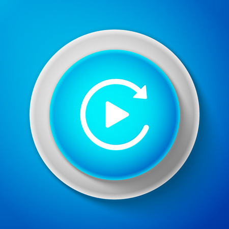 White Video play button like simple replay icon isolated on blue background. Circle blue button with white line. Vector Illustration 일러스트